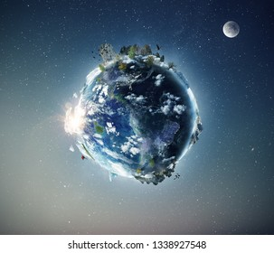 Full view of planet Earth from the space. Half day and night concept. Fauna and flora in ecosystem. Some elements by NASA images.