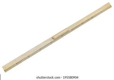 full view of wooden meter ruler isolated on white background