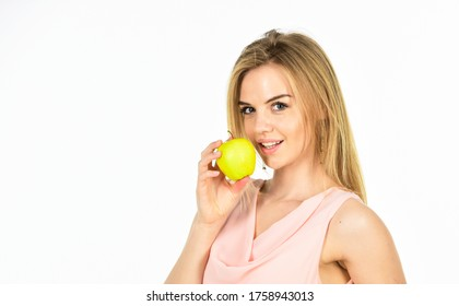 full of vitamin. organic and natural eating. good for your teeth health. girl smiling with apple isolated on white. dieting idea. forbidden fruit. happy woman hold apple. healthy food. copy space.