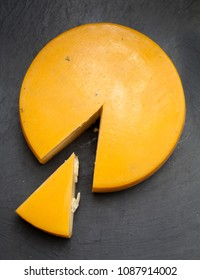 full wheel of semi-hard cheese from Azores, Portugal