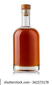 Full whiskey bottle isolated on white background with clipping path