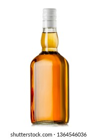 Full whiskey bottle with white cap