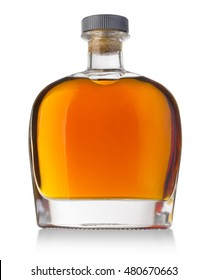Full whiskey, cognac, brandy bottle isolated on white background. with clipping path