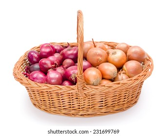 Full wicker basket with red and yellow onions