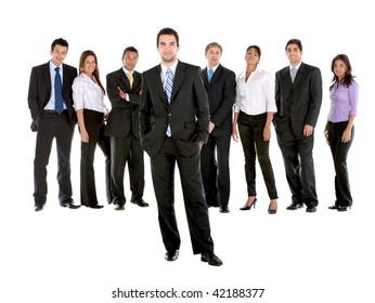 Fullbody business group isolated over a white background