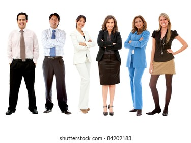 Fullbody business team - isolated over a white background