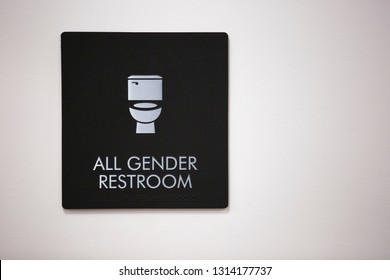 Fullerton, California - October 16, 2018: An All Gender Restroom logo adorns the side of a restroom.