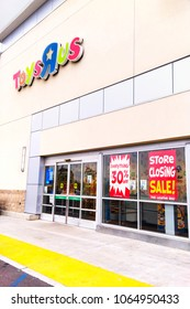 Fullerton, California, USA - April 3, 2018: Toys R Us with closing sale signs at retail store in Fullerton, California. C. Toys R Us said in a U.S. Bankruptcy Court filing that it must liquidate.