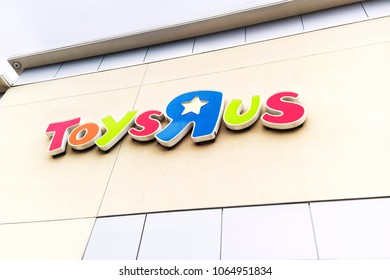 Fullerton, California, USA - April 3, 2018: Toys R Us signage above entrance to store in Fullerton, California. C. Toys R Us said in a U.S. Bankruptcy Court filing that it must liquidate.