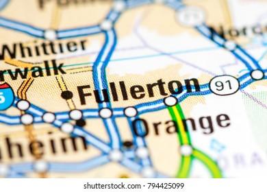 Fullerton. California. USA on a map