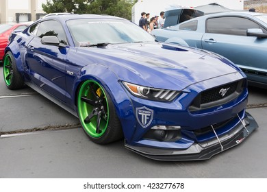 Fullerton, USA - May 14, 2016: Modified Ford Mustang during Extreme Dimensions Car Show.