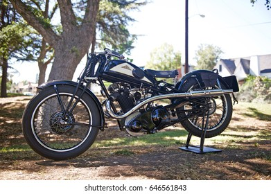 FULLERTON/CALIFORNIA - MAY 21, 2017: 1934 Cotton. A British racing motorcycle with a 500CC engine and a triangulated frame with no rear suspension parked in the park in Fullerton, California USA