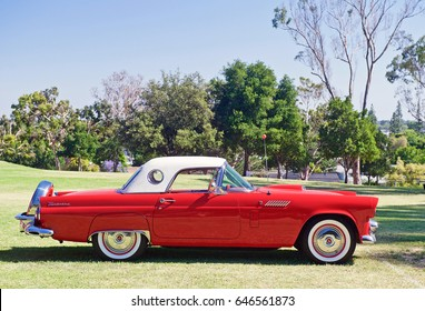 FULLERTON/CALIFORNIA - MAY 21, 2017: Classic Ford Thunderbird parked at a gathering of like minded classic car enthusiasts at a park in Fullerton, California USA