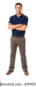 Full-length casual dress businessman in polo shirt isolated on white background for use alone or as a design element