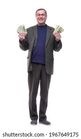 full-length. casual man showing a bundle of banknotes.