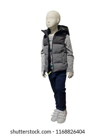 Full-length child mannequin dressed in fashionable kids wear, isolated on white background. No brand names or copyright objects.