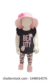 Full-length child mannequin dressed in fashionable children's clothes, isolated on white background. No brand names or copyright objects.