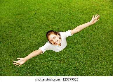 Full-length enjoying freedom of outdoors