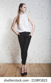 full-length fashion girl  posing on white background