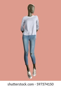 Full-length female mannequin dressed in blue jeans and white top, isolated. No brand names or copyright objects.