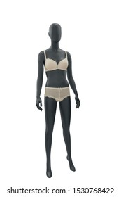 Full-length female mannequin wearing women's underwear, isolated on white background. No brand names or copyright objects.