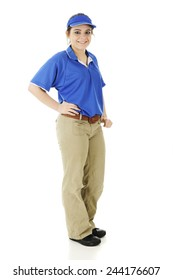 Full-length image of a pretty teen fast-food employee.  On a white background.