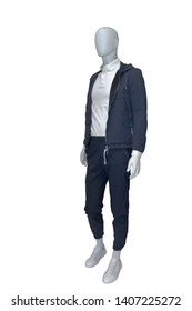 Full-length male mannequin dressed in casual clothes (jacket and trousers), isolated on white background.  No brand names or copyright objects.
