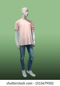 Full-length male mannequin dressed in summer clothes, isolated on green background. No brand names or copyright objects.
