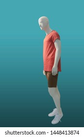 Full-length male mannequin in summer casual clothes, isolated. No brand names or copyright objects.