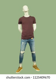 Full-length man mannequin dressed in summer casual clothes, isolated. No brand names or copyright objects.