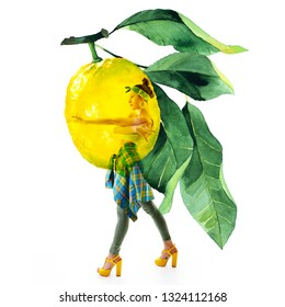 Full-length portraiDouble exposure of watercolor lemons with full-length portrait of beautiful dancing girl in green pants, lime top and yellow shoes. Teen girl hip-hop dancer with hand drawn lemons