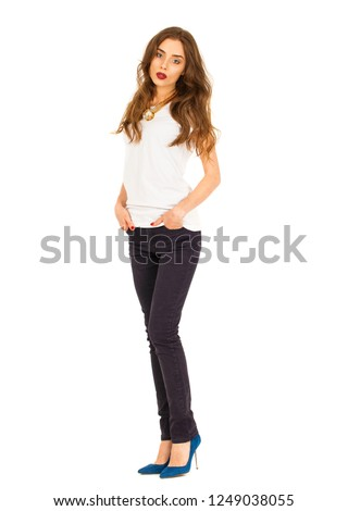 e127fb7c3c Fulllength Portrait Beautiful Girl Jeans White Stock Photo (Edit Now ...