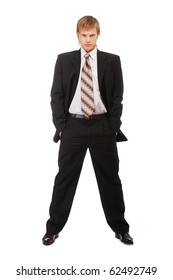 full-length portrait of businessman in black suit on white