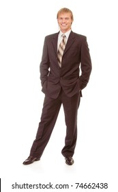 full-length portrait of businessman in black suit, isolated on white background.