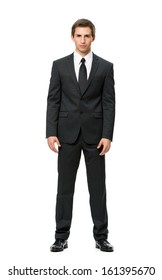 Full-length portrait of businessman, isolated on white. Concept of leadership and success