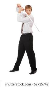 full-length portrait of businessman with katana on white