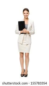 Vollständiges Portrait von Geschäftsfrauen Ordner, einzeln auf Weiß. Konzept von Führung und Erfolg