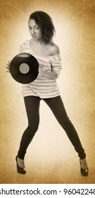 full-length portrait of a girl with a  records on white background