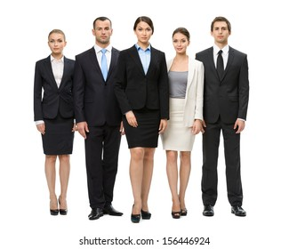 Full-length portrait of group of executives, isolated on white. Concept of teamwork and cooperation
