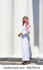 Full-length portrait of a handsome arabian man