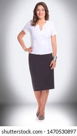 full-length portrait of a modern business woman.