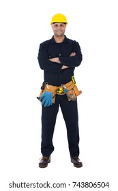 full-length portrait of smiling builder with folded arms wearing a uniform. Isolated on white background.