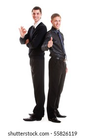full-length portrait of two prosperous young businessmen. isolated on white background
