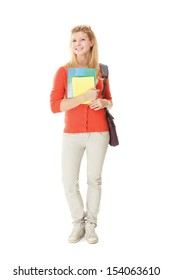 A full-length portrait of a young college girl with books, isolated on white