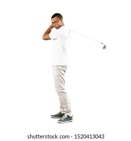 Full-length shot of Afro American golfer player man over isolated white background