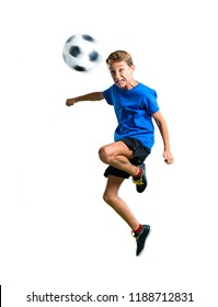 A full-length shot of Boy playing soccer hitting the ball with the head on isolated white background