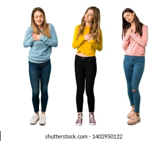 A full-length shot of a group of people with colorful clothes having a pain in the heart on isolated white background on isolated white background