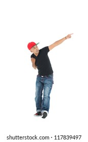 Full-length shot of a handsome hip-hop guy isolated against white background