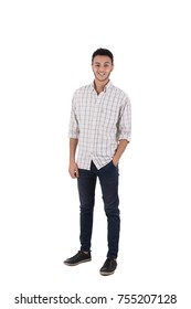 Full-length shot of happy teenager standing confidently. Isolated on white background.