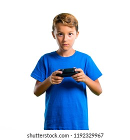 A full-length shot of Kid playing the console on isolated white background